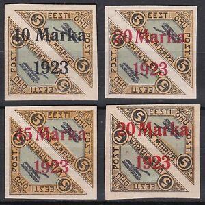 Estonia. 1923 Overprinted Imperforate Air Issues x 4.