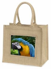 Blue+Gold Macaw Parrot Large Natural Jute Shopping Bag Christmas Gif, AB-PA10BLN