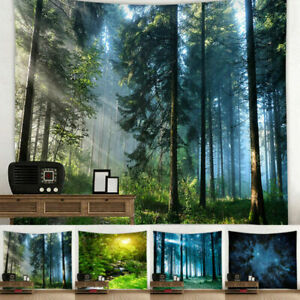 Home Ornament Cover 3D Forest Nature Tapestry Wall Hanging Art Bedspread Throw-