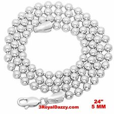 """New Italian White gold over 925 silver ball bead Military Dog Tag chain 5 mm 24"""""""