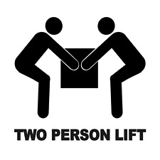2 x   Two Person Lift - Pictogram Info Self Adhesive Waterproof Vinyl Stickers