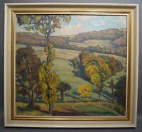 E. v. Gettingen (Maler Jugendstil) - Blick über Spätsommerlandschaft um 1910