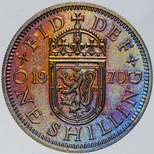 New listing 1970 Great Britain 1 Shilling Proof Unc Bu Monster Golden Blue Toned Color (Dr)