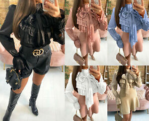 Women's Ladies Ruffle Frill Bow Detail Button up Fashion Blouse Top New UK