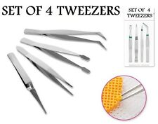 Set of 4 Assorted Tweezers Beading Jewellery Tool Stainless Steel Tweezers Set