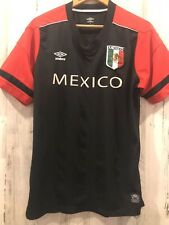 Umbro Mens Mexico Jersey Shirt Sz L Black Red Mexico Flag Patch