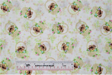 EASTER Bunny Bunnies in Baskets Toss Off White Cotton Fabric   BTY  (E) +