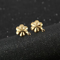 New Gold/Silver Stainless Steel Flower Earrings Posts DIY Connectors Findings