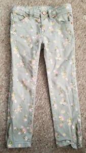 CHEROKEE Green Floral Print Super Skinny Denim Jeans Girls Size 5 Zippered Legs