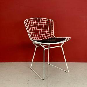 VINTAGE HARRY BERTOIA WHITE POWDER COATED SIDE DINING CHAIR MIDCENTURY #3284