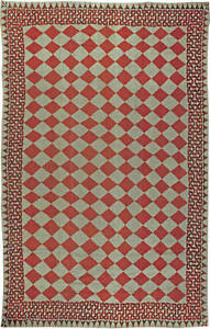 Oversized Vintage American Red and Beige Diamond Handwoven Rag Rug BB5593