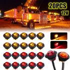 20x 34 12v Marker Lights Led Truck Trailer Round Side Bullet Light Amber Red