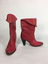 Vintage 1980's - 1990's FIERY RED leather Western-esque boots by ZODIAC size 5.5