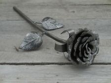 Hand forged rose, Anniversary gift, Iron flower, Metal sculpture, Wrought iron
