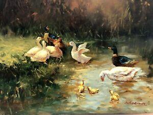 Ölgemälde alt Romantik Enten Küken Teich Wasser See M. Kremer um 1980