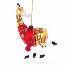 Giraffe Dressed Blown Glass Christmas Ornament