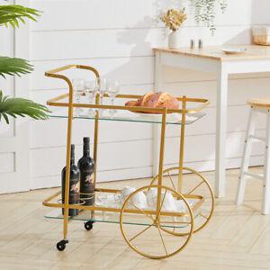 Tea Table Trolley Sofa End Side Glass Metal Drinks Cart Living Room- Bronze/Gold