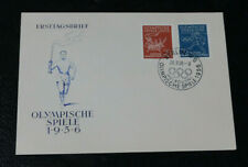 1956 West Germany 1st day cover Melbourne Olympic games torch run stamps