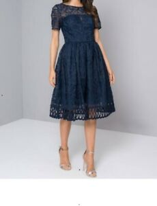 Chi Chi London  Lace  Cap Embroidered Sleeves Cutwork Occasion Dress  12 navy