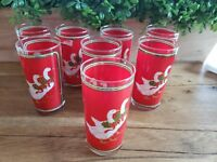 Set of 8 Vintage Highball Hiball Glasses by Culver Christmas Geese Gold