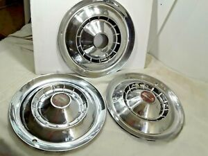 """1954 Chevy Hub Caps 15"""" Stainless Set Of 3  -  H339"""