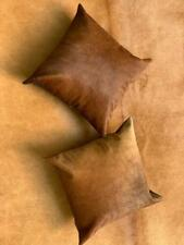 Natural Cowhide Cushion Cover Brown 16x16 in Silky Hair on Leather Fur Set of 2