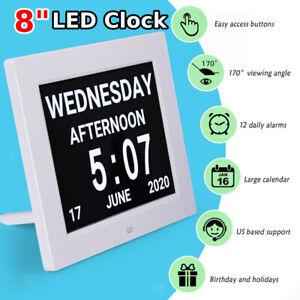 AU 8'' White LED Dementia Digital Calendar Clock Extra Large Day/Week/Month/Year
