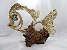 BEAUTIFUL GOLD TONE METAL FISH ON WOODEN BASE ART SCULPTURE BLUE GLASS EYES 12""