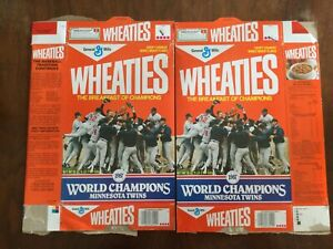 2 Wheaties Cereal Box Minnesota Twins 1987 MLB World Champions Puckett Hrbek