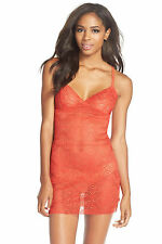 Josie By Natori Tomato Red  Medallion Lace Chemise. Size M ***NEW****$88***