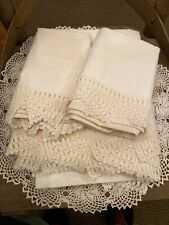 ANTIQUE HOMESPUN SHEET WITH PILLOW CASES Crocheted Edges