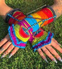 KALEIDOSCOPIC HIPPIE 'RAINBOW' MUSHROOM WRISTLETS / GLOVES / CLOTHING / BAG