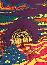 Vintage Blacklight Poster Anti-war Peace Psychedelic Pin-up Graveyard 1970's War