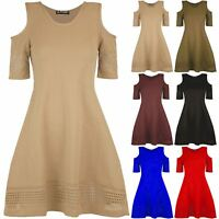 Ladies Womens Cold Shoulder Laser Cut Smock Short Sleeve Swing Flared Mini Dress