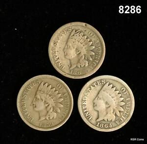 1859, 62, 64 INDIAN CENT LOT G+ CLEANED #8286