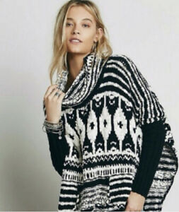 Free People Rosie Lee Oversized Poncho Sweater M