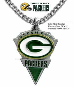 GREEN BAY PACKERS STAINLESS STEEL CHAIN NECKLACE - NFL FOOTBALL - FREE SHIP  #A