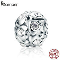 BAMOER 925 Sterling silver Charm Heartbeat With Zircon Bead For bracelet Jewelry
