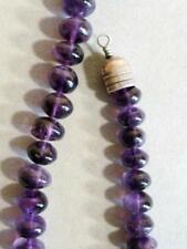 "Genuine Amethyst 24"" Necklace purple violet 10-12mm Bead Vintage Artisan 485 ct"