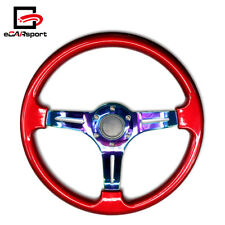 Car Racing Steering Wheel 350mm ABS Deep Dish 14'' Drifting Neo Chrome & Red