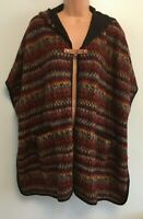 KUNA Quirky Hooded Multicoloured Poncho 100% Baby Alpaca, One Size for layering
