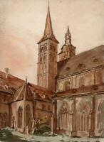FRITZLAR CHURCH GERMANY Watercolour Painting 19TH CENTURY - GRAND TOUR