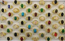 Newest style Mix Lot 25pcs Nature stone Multicolor Big Men's Rings Jewelry GS153