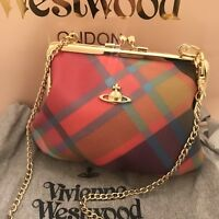 VIVIENNE WESTWOOD Derby Harlequin Small Chain Purse / Clutch With Gold Chain