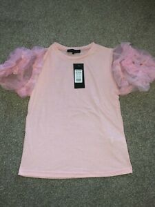 pink ruffle sleeve top new with tags new look size 10