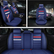 Deluxe Edition Car 5-Seats Cover Set with Pillows omfortable PU Leather Blue