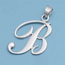 Alphabet Initial Pendant Sterling Silver 925 Rhodium Plated Jewelry Letter B