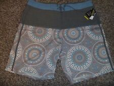 Size 38 Burnside Board Shorts Gray Multi Color Geometric NWTs Stretch Quick Dry