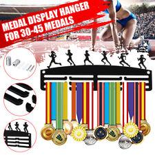Female Runner Acrylic Personalised 3 Tier Medal Hanger / Holder / Rack Black