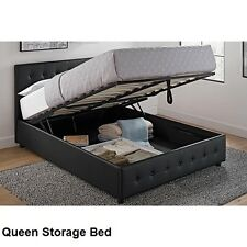 Queen Size Platform Bed Storage Beds Upholstered Black Tufted Headboard & Frame